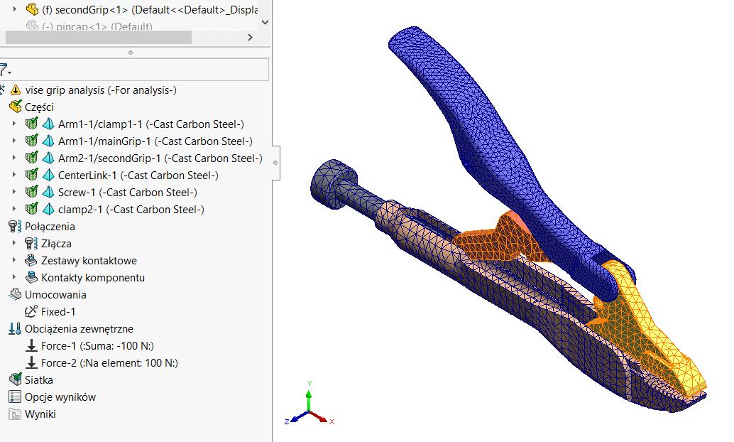 Mis siatek SOLIDWORKS Simulation 2020