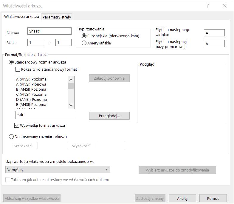 Format arkusza i format rysunku w SOLIDWORKS
