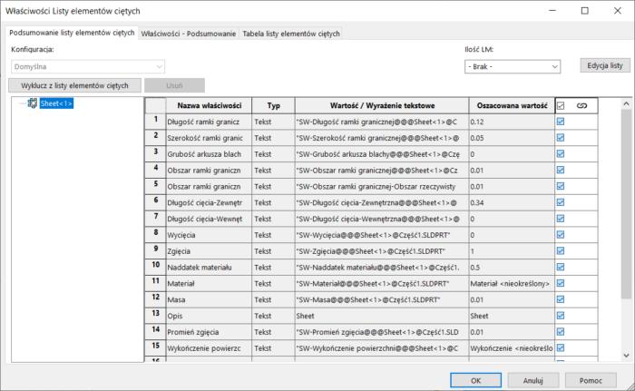 właściwość dostosowana tabela lista materiałów w SOLIDWORKS