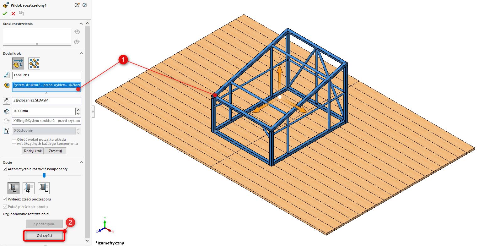 Jak wykorzystać widok rozstrzelony części w złożeniu SOLIDWORKs - DPSTODAY