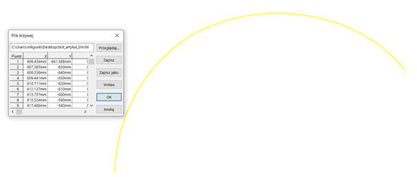 Import danych chmury punktów z CAM do CAD