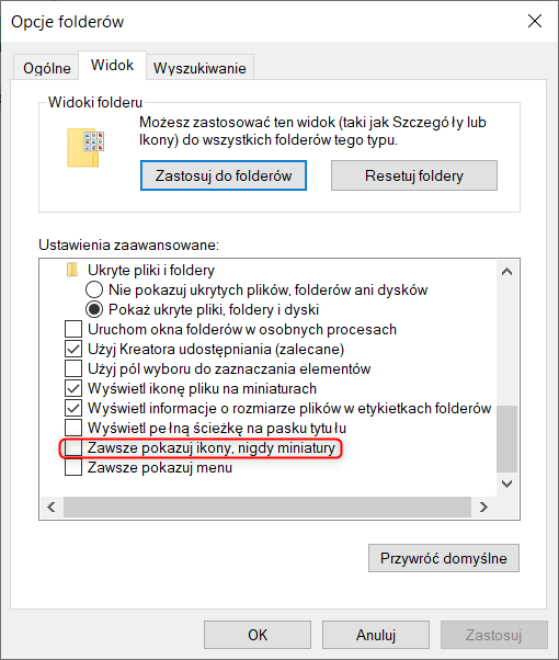 Jak włączyć wyłączyć miniatury plików SOLIDWORKS w eksploratorze Windows?