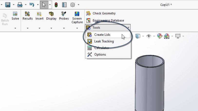 SOLIDWORKS Flow Simulation Create Lids