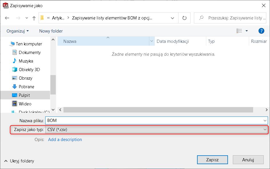 Zapisywanie listy elementów BOM z opcją aktualizacji