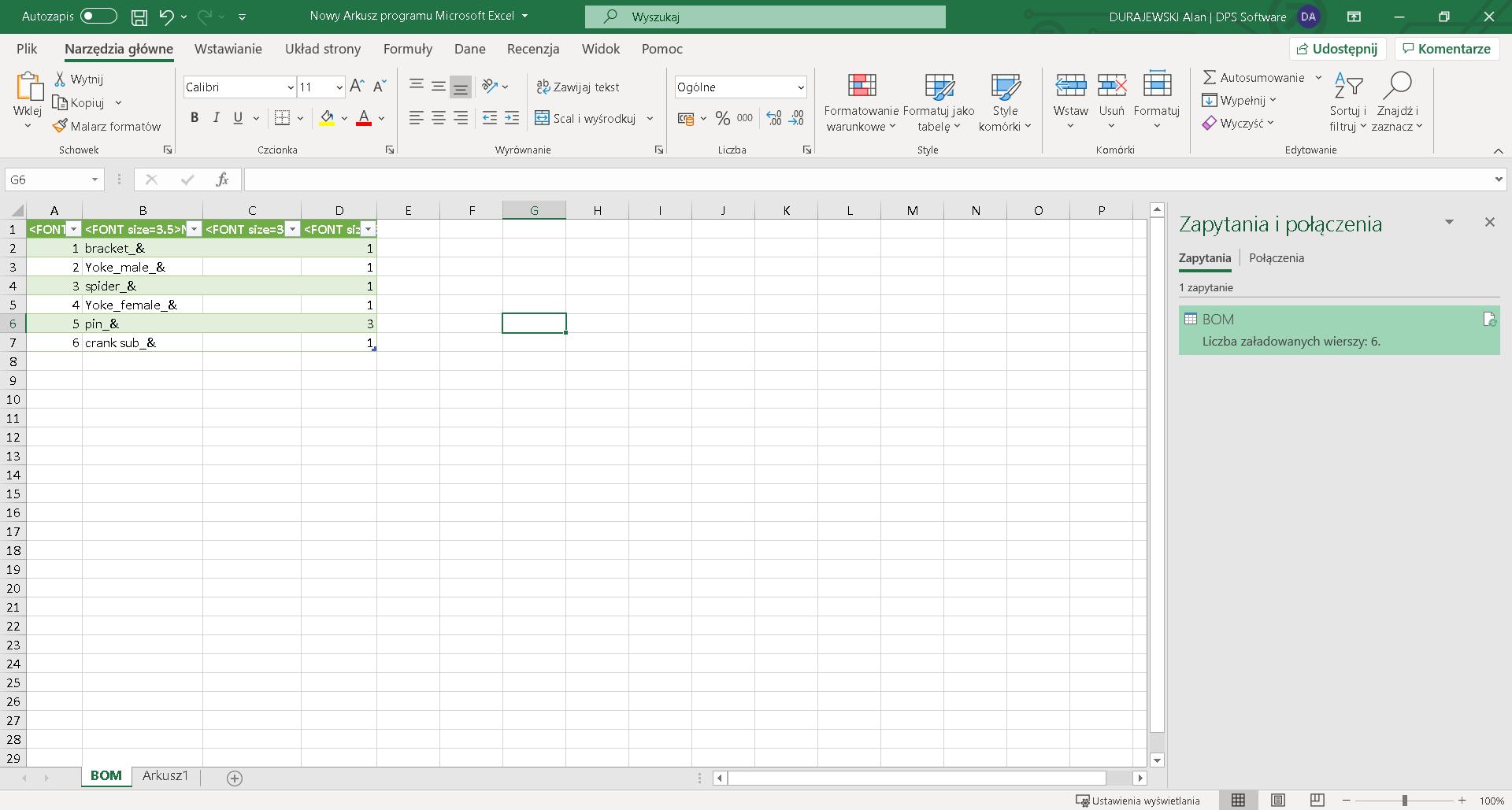 Po zaimportowaniu, wszystkie dane dopasowały się do formatu arkusza kalkulacyjnego