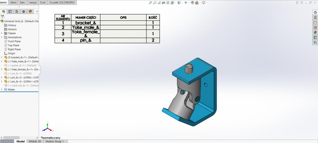 Po wygaszeniu w złożeniu źródłowym części komponentów, lista materiałowa została skrócona