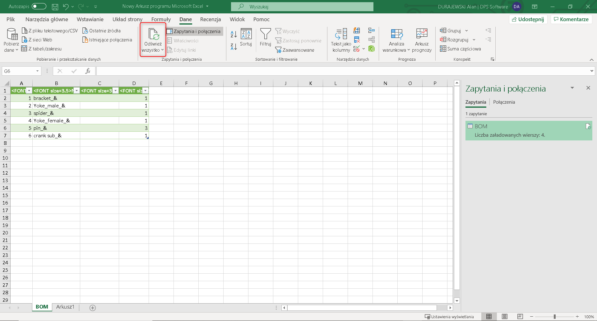 Po przejściu do arkusza kalkulacyjnego wybieram odświeżanie danych