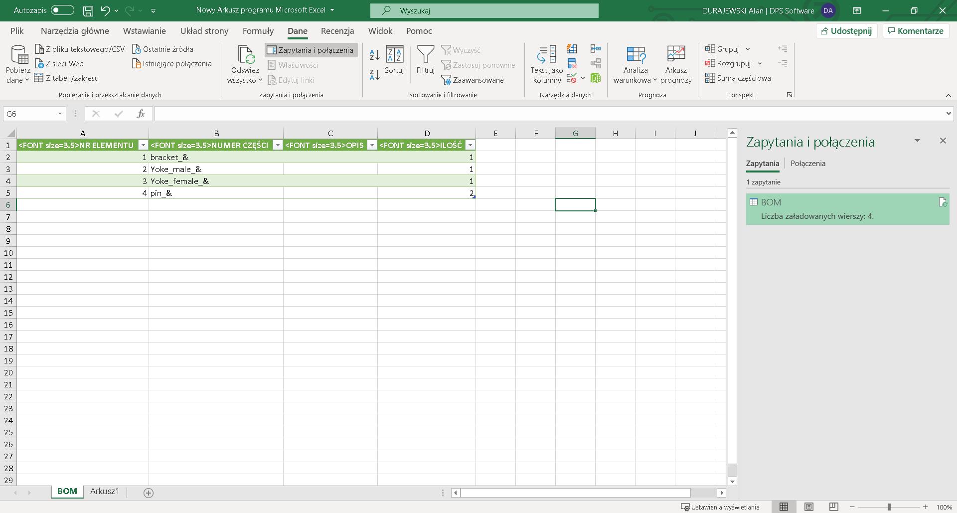 Po odświeżeniu danych, wszystkie kolumny zaktualizowały się na podstawie zapisanego pliku csv.