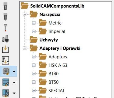 SOLIDCAM 2021 Toolkit - Zawartość Biblioteki Komponentów Narzędzi