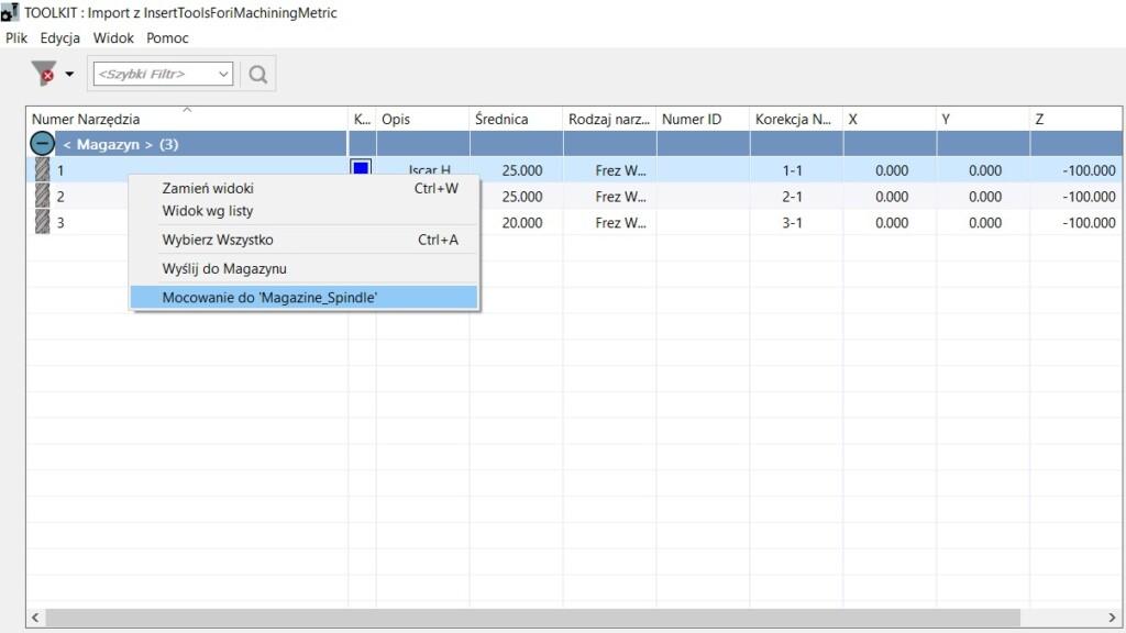 SOLIDCAM 2021 Toolkit - Okno importu komponentu