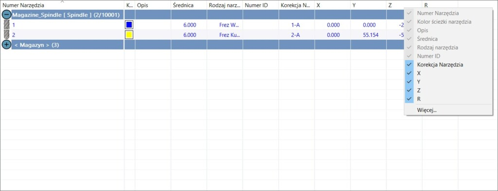SOLIDCAM 2021 Toolkit - Wybór szczegółów narzędzi w tabeli