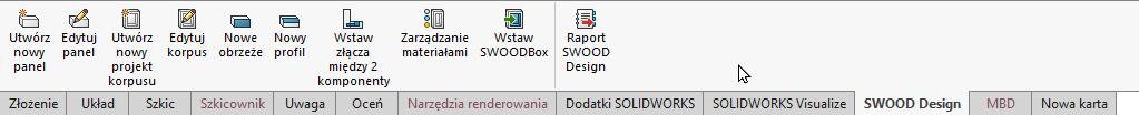 CommandManager SWOOD SOLIDWORKS - dodaj kartę