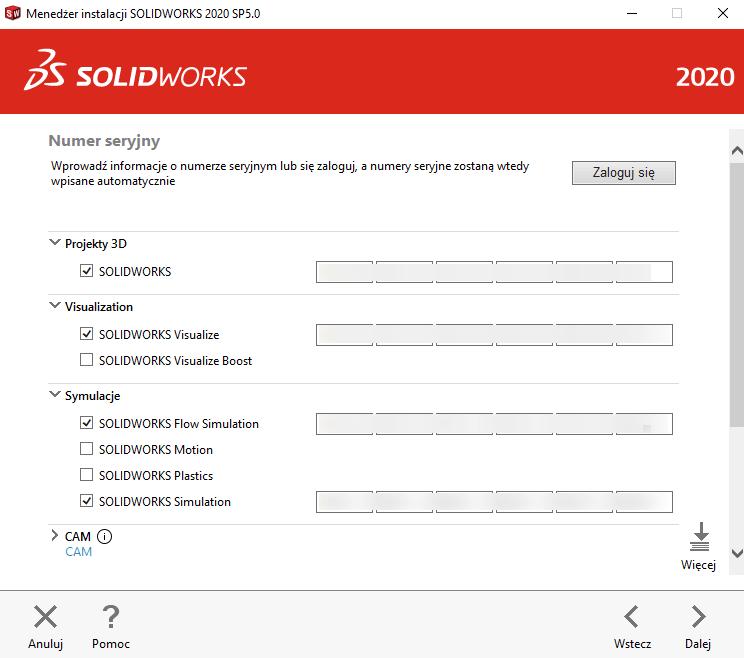 Instrukcja instalacji SOLIDWORKS krok 3