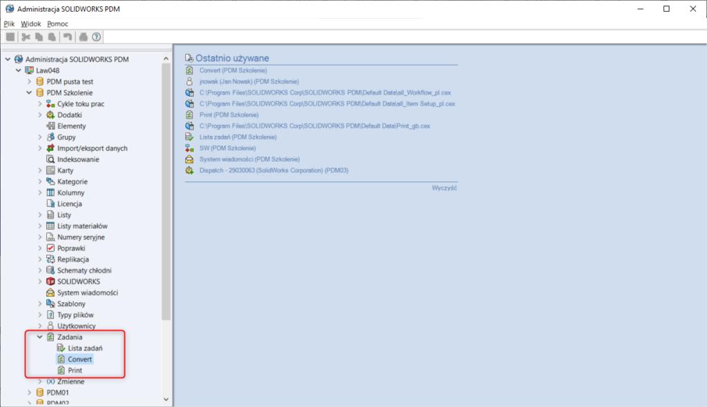 konfiguracja zadania w solidworks pdm