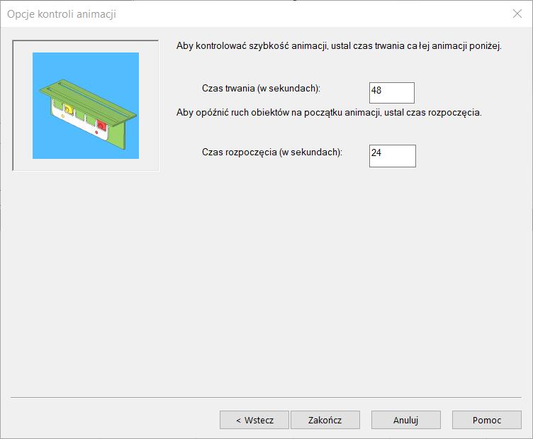 SOLIDWORKS opcje konroli animacji